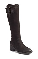 Paul Green Women's Kendra Knee High Buckle Boot Black Nubuck Leather