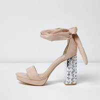 River Island Womens Nude Embellished Tie Up Platform Heels