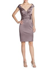 Kay Unger Satin Ruched Waist Cocktail Dress Mink