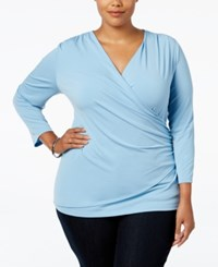 Charter Club Plus Size Faux Wrap Top Only At Macy's Aviary Blue