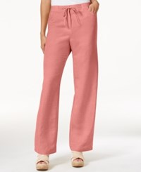 Jm Collection Linen Blend Wide Leg Pants Only At Macy's Coral Shell