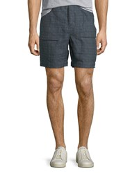 Billy Reid Everett Plaid Linen Shorts Blue