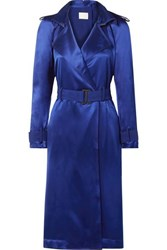 Dion Lee Belted Cutout Mulberry Silk Satin Dress Royal Blue