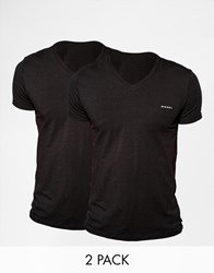 Diesel Two Pack T Shirt With V Neck In Slim Fit Black