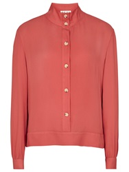 Reiss Silk Star High Neck Shirt Ambrosia