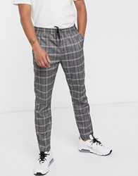 Brave Soul Christian Tapered Drawstring Trousers In Check Grey