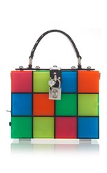 Dolce And Gabbana Multicolor Squares Top Handle Bag Orange Green Blue