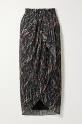 Iro Aubagna Wrap Effect Printed Lurex Midi Skirt Black