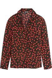 Holly Fulton Rose Print Silk Crepe De Chine Shirt Black
