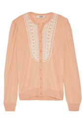Valentino Beaded Wool Silk And Cashmere Blend Cardigan Antique Rose
