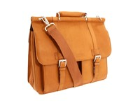 Kenneth Cole Reaction Colombian Leather Dowel Rod Portfolio Computer Case Tan Briefcase Bags