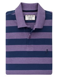 Thomas Pink Harmer Stripe Polo Shirt Purple Navy
