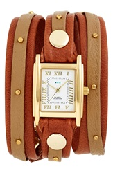 La Mer Studded Leather Wrap Watch 19Mm Tan Gold