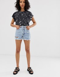 Cheap Monday Recycled Donna Rigid Mom Shorts With Distressing And Raw Hem Blue