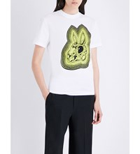 Mcq By Alexander Mcqueen Bunny Cotton Jersey T Shirt White Lime