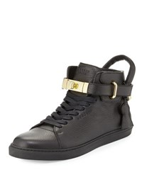 Buscemi 100Mm High Top Leather Sneaker With Padlock Black