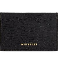 Whistles Croc Embossed Patent Card Holder Black