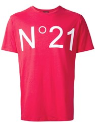 N 21 No21 Logo Print T Shirt Red
