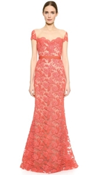 Reem Acra Re Embroidered Lace Gown Persimmon