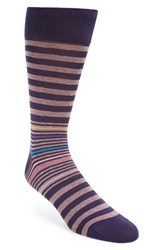 Bugatchi Men's 'Donegal' Stripe Socks Mauve