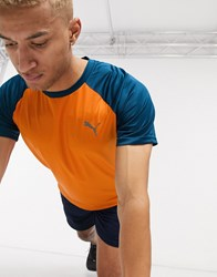 Puma Collective Loud Performance T Shirt In Orange And Blue