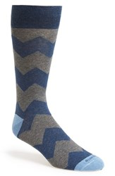 Men's Etiquette Clothiers 'Everest' Stripe Socks Blue Vintage Blue Heather