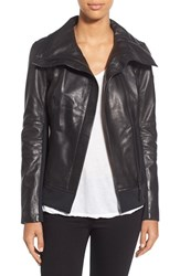 Women's Rudsak 'Presley' Asymmetrical Zip Neoprene And Leather Moto Jacket