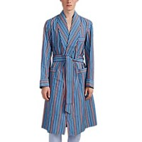 Barneys New York Striped Cotton End On End Robe Blue