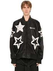Ktz Star Cut Out Nylon Bomber Jacket