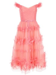 Marchesa Notte Floral Layer Dress Pink