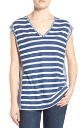 Vince Camuto Women's Two By Stripe Tee Indigo Heather