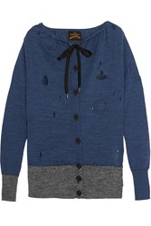 Vivienne Westwood Oasis Distressed Wool Cardigan Blue