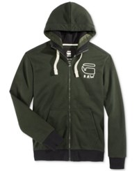 G Star Raw Men's Graphic Zip Up Hoodie Asfalt