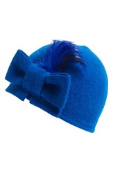 Women's Helene Berman Bow And Feather Wool Blend Cap Blue Bright Blue