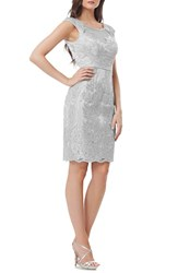 Js Collections Women's Collection Illusion Neck Woven Sheath Dress