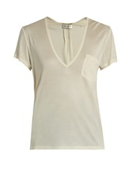 Saint Laurent Plunging Silk Jersey T Shirt Cream