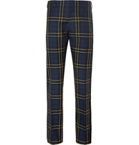 Joseph Navy Jack Slim Fit Prince Of Wales Checked Cotton Twill Trousers Navy
