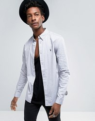 Allsaints Shirt In Slim Fit With Concealed Button Down Collar Light Grey