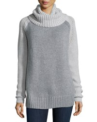 Autumn Cashmere Cowl Neck Two Tone Cashmere Blend Sweater Men's Size X Small Nickel White Nickel Pearl