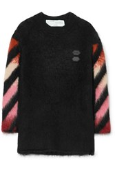 Off White Oversized Intarsia Wool Blend Sweater Black