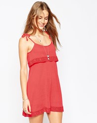 Asos Tiered Cami Dress With Cotton Lace Pink