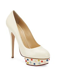 Charlotte Olympia Dolly Studded Platform Leather Pumps Off White
