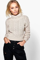 Boohoo Marl Cable Knit Chunky Crop Jumper Stone