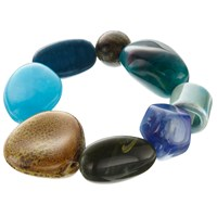 One Button Mixed Bead Stretch Bracelet Multi
