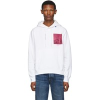 Off White And Pink Halftone Arrows Slim Hoodie