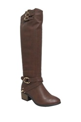 Yoki Duke Over The Knee Strappy Boot Brown
