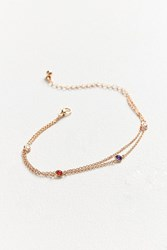 Urban Outfitters Leah Crystal Anklet Gold