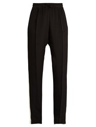 Serena Bute Drawstring Wide Leg Silk Trousers Black White