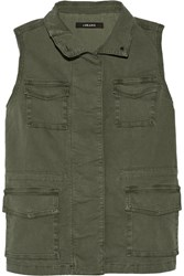 J Brand Arden Cotton Blend Canvas Vest Green