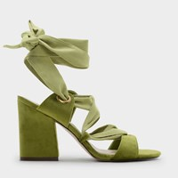 Charles And Keith Laced Up Heels Green